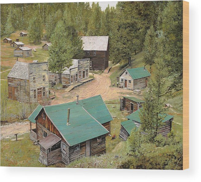 Ghost Town Wood Print featuring the painting Garnet In Montana by Guido Borelli