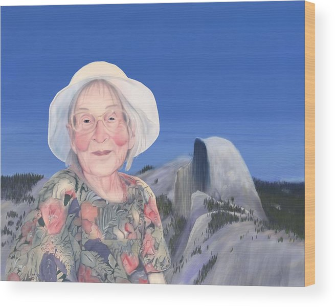 Portrait Wood Print featuring the digital art Gma At Halfdome by Phil Vance