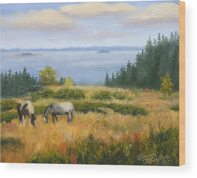 Landscape Wood Print featuring the painting Grazing With A View by Tommy Thompson