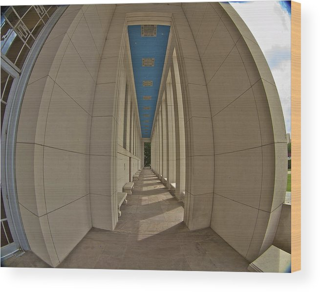 Dallas Wood Print featuring the photograph Hall Of State Colonadde Thru A Fisheye by John Babis