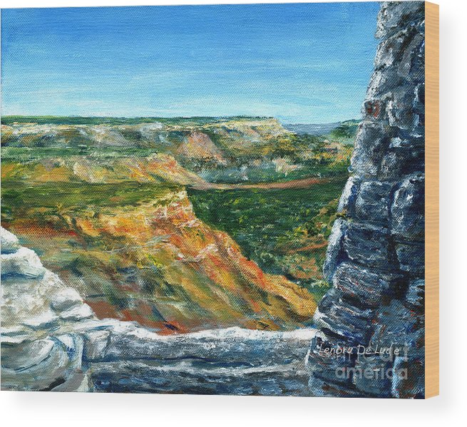 Canyon Wood Print featuring the painting Hand Painted Palo Duro Texas Landscape by Lenora De Lude