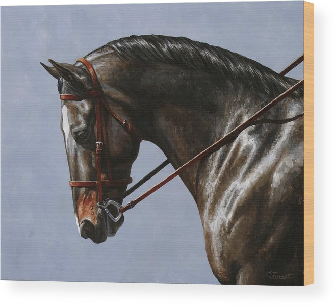 Horse Wood Print featuring the painting Horse Painting - Discipline by Crista Forest