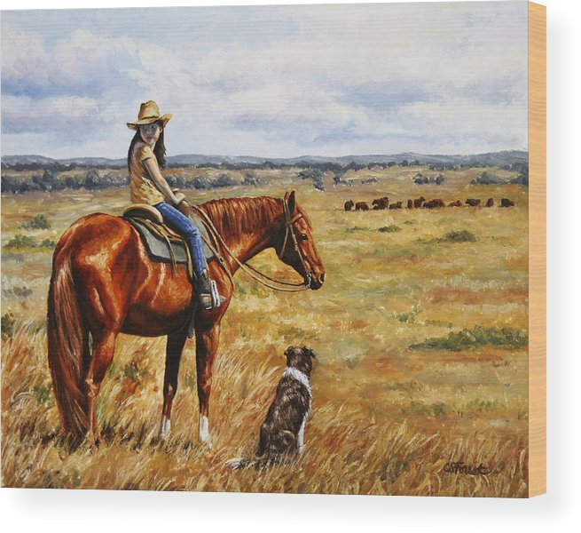 Western Wood Print featuring the painting Horse Painting - Waiting For Dad by Crista Forest
