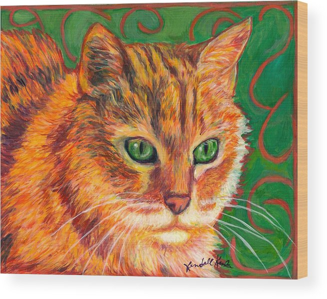 Cats Wood Print featuring the painting In Charge by Kendall Kessler