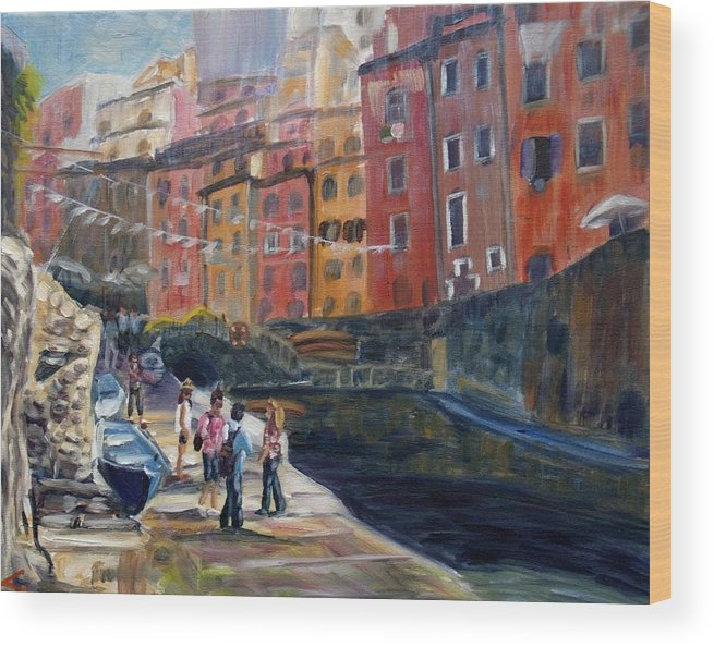 Italian Town Wood Print featuring the painting Italian Town by Elena Sokolova