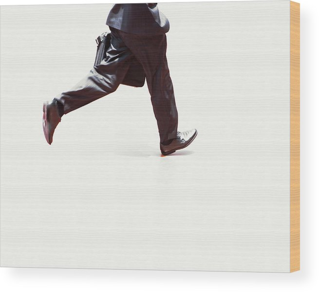 Adult Wood Print featuring the photograph Japanese Businessman Walking Fast by Ron Koeberer