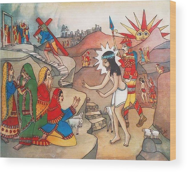 Indian Art Wood Print featuring the painting Jesusaway by Bhanu Dudhat
