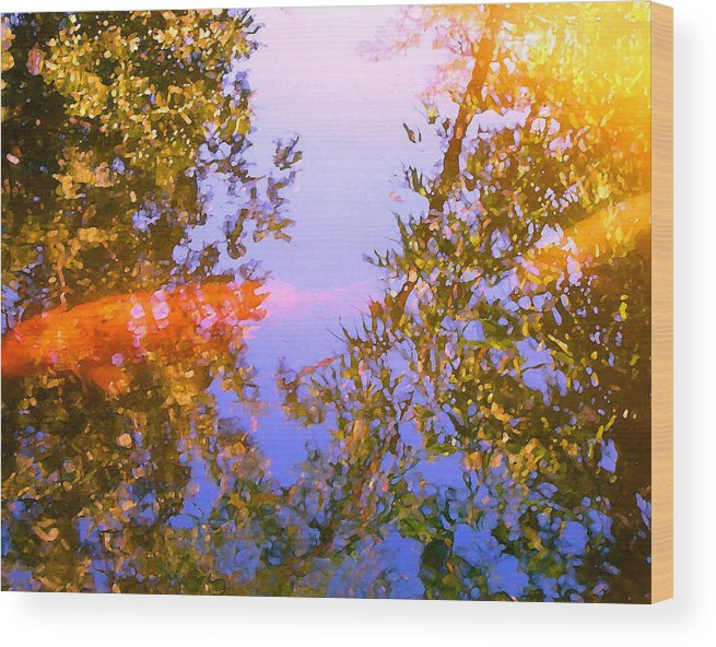 Animal Wood Print featuring the painting Koi Fish 4 by Amy Vangsgard