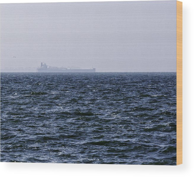Big Wood Print featuring the photograph Lake Erie Cargo Ship by Jack R Perry