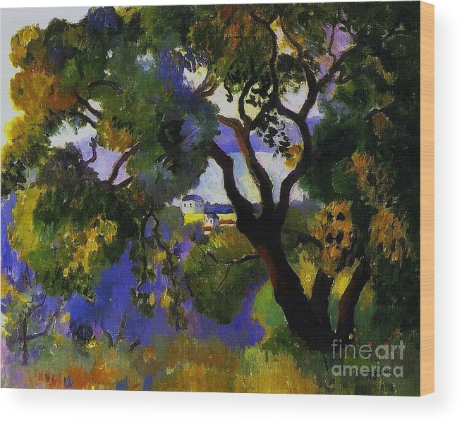 Pd Wood Print featuring the painting Landscape At St Tropez 2 by Pg Reproductions