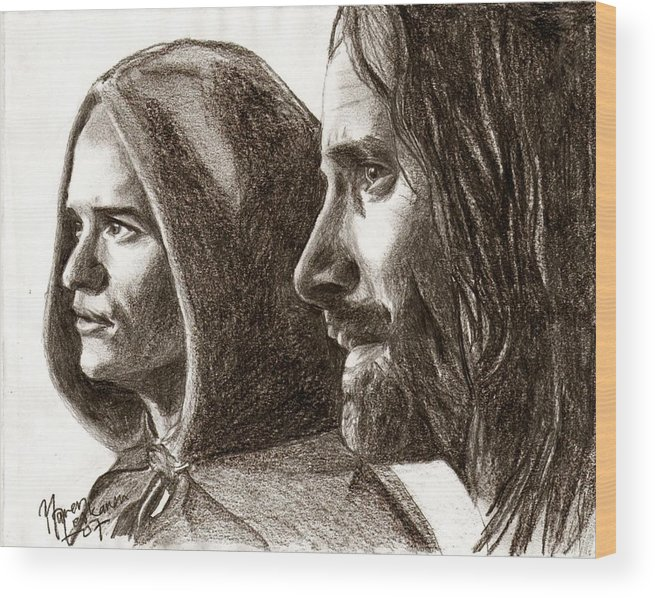 The Lord Of The Rings Wood Print featuring the drawing Legolas And Aragorn by Maren Jeskanen