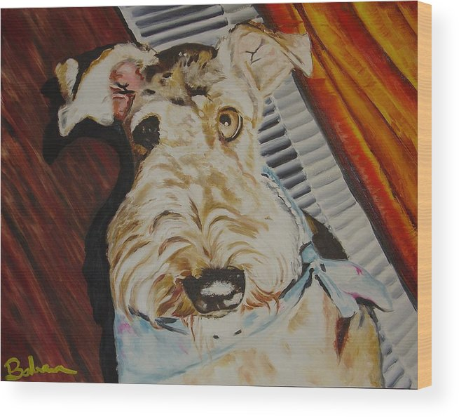 Airedale Art Wood Print featuring the painting Let Me Out by Ruben Barbosa