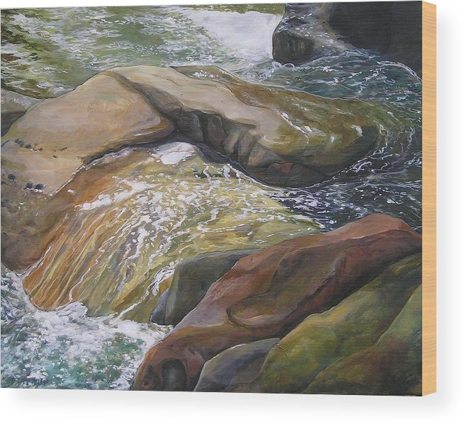 Water Wood Print featuring the painting Living Water by Denise Ivey Telep