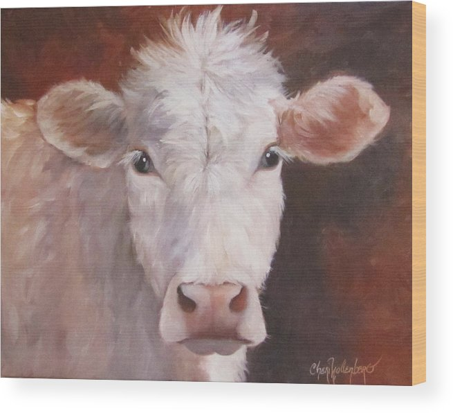 Cow Art Wood Print featuring the painting Lizzy Has A Bad Hair Day by Cheri Wollenberg