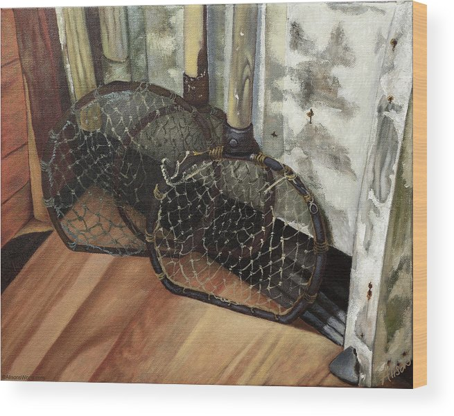 Fish Wood Print featuring the painting Lubec Fish Nets by Alison Barrett Kent