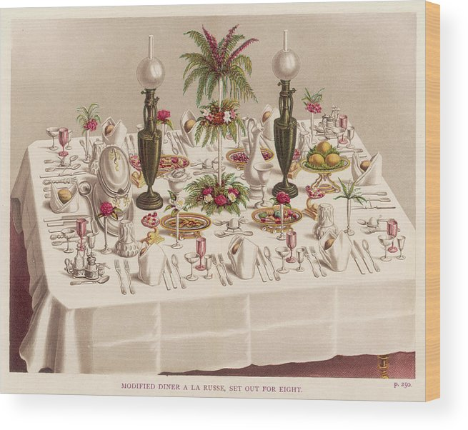 Table Wood Print featuring the drawing Modified Diner A La Russe, Set by Mary Evans Picture Library