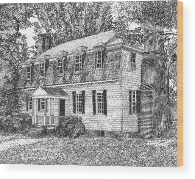 Moore House Wood Print featuring the drawing Moore House In Yorktown Virginia by Stephany Elsworth