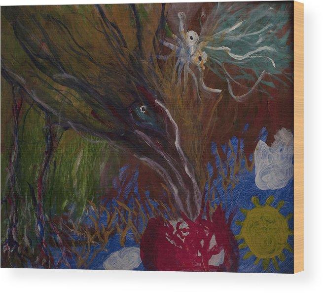 Bird Wood Print featuring the painting Mother Bird - 1985 by Joe Billera