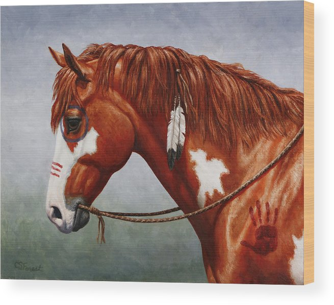Horse Wood Print featuring the painting Native American War Horse by Crista Forest