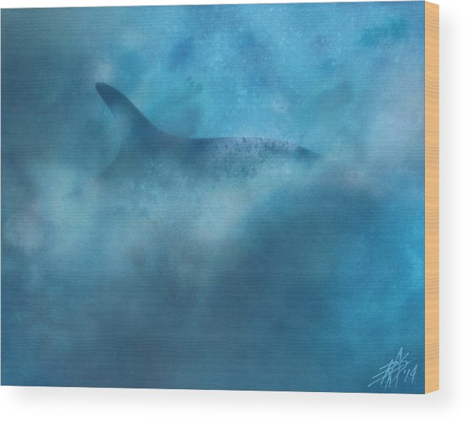 Fin Whale Wood Print featuring the painting Nereid Or Fin Whale Off Of Newport Beach by Robin Street-Morris