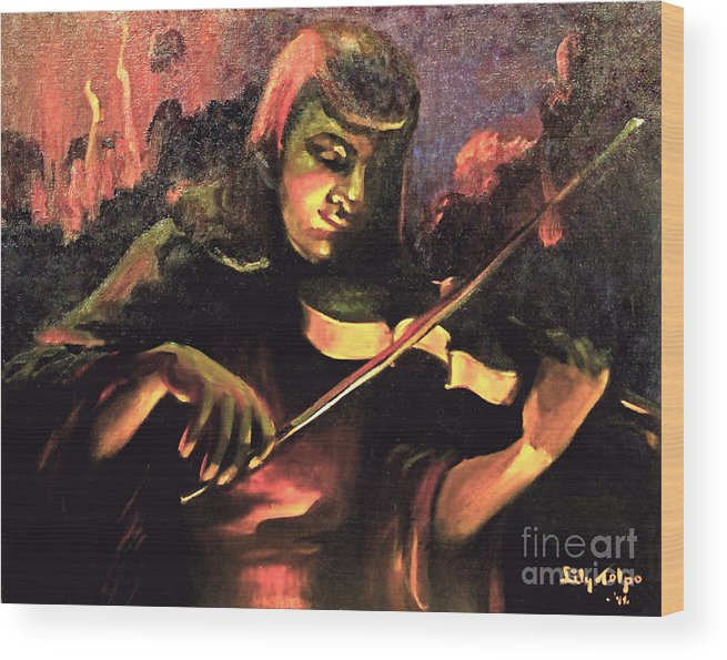 Nightclub Wood Print featuring the painting Nightclub Violinist - 1940s by Art By Tolpo Collection