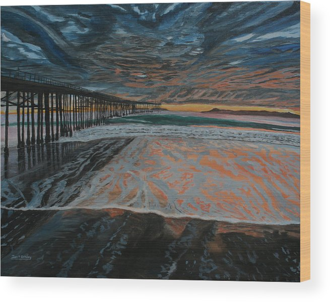 Ventura Wood Print featuring the painting North Side Of The Ventura Pier by Ian Donley