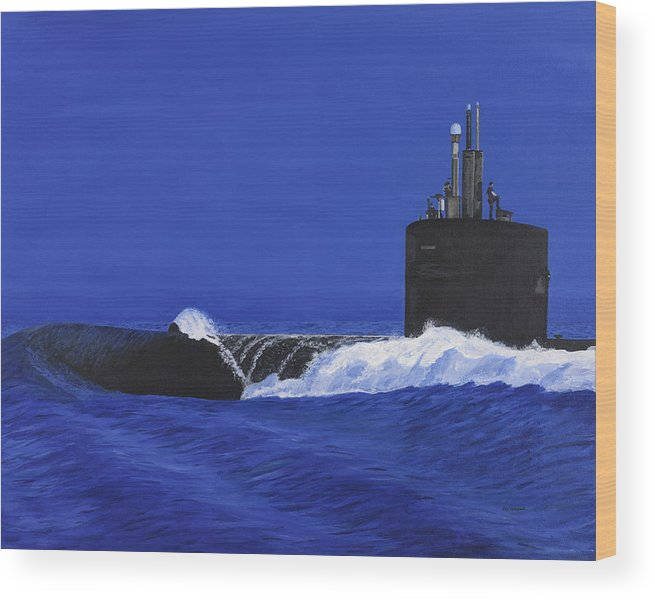 Navy Wood Print featuring the painting Not A Moment To Lose by Carl Hartsfield