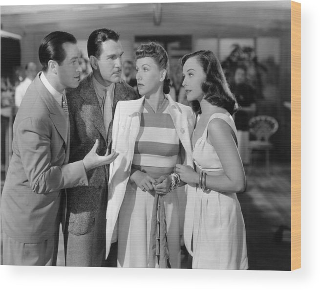 1940s Movies Wood Print featuring the photograph Nothing But The Truth, From Left Bob by Everett