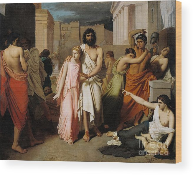 Disease Wood Print featuring the painting Oedipus And Antigone Or The Plague Of Thebes by Charles Francois Jalabert