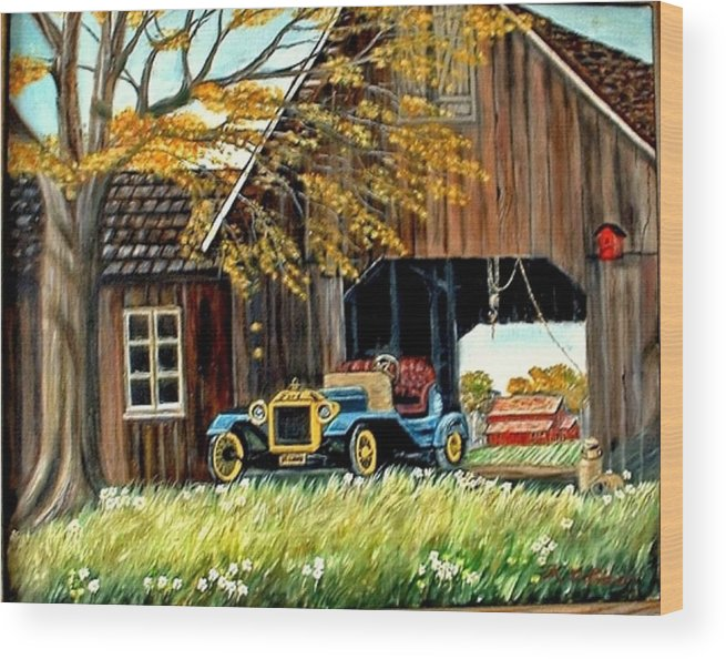 Old Barn Car Wood Print featuring the painting Old Barn And Old Car by Kenneth LePoidevin