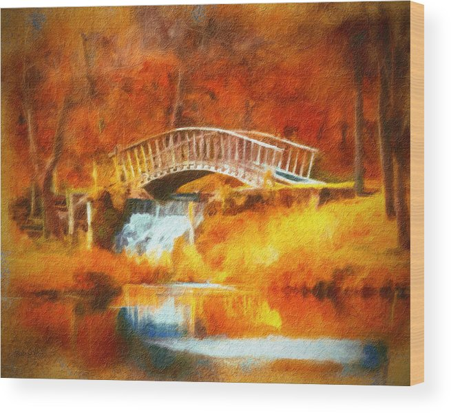 Bridge Wood Print featuring the digital art Old Mill Bridge by Bob Galka