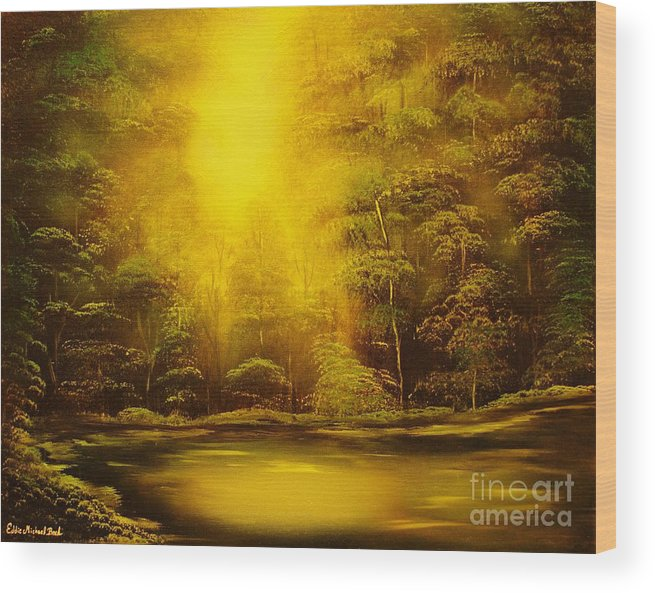 Landscape Wood Print featuring the painting Green Forest Glow-original Sold- Buy Giclee Print Nr 35 Of Limited Edition Of 40 Prints by Eddie Michael Beck