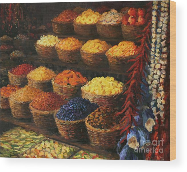 Fruits Wood Print featuring the painting Palette Of The Orient by Kiril Stanchev