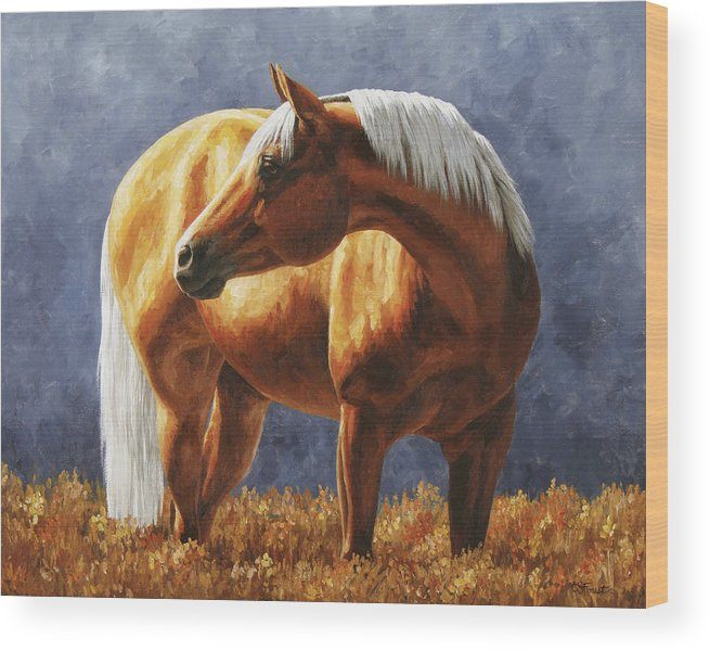 Horse Wood Print featuring the painting Palomino Horse - Gold Horse Meadow by Crista Forest