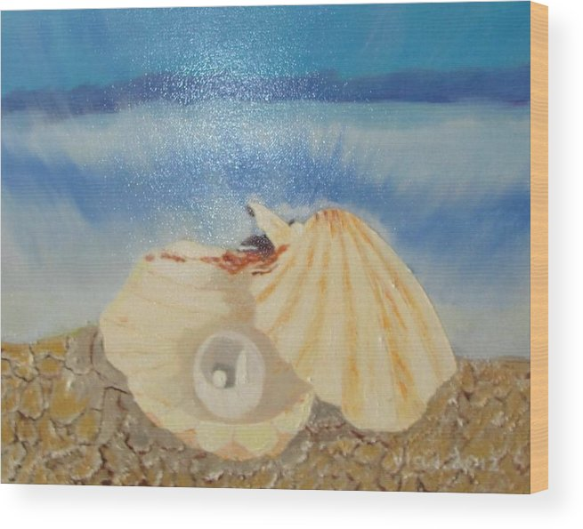 Pearl Wood Print featuring the painting Pearl In A Shell by Vladimir Shevchenko