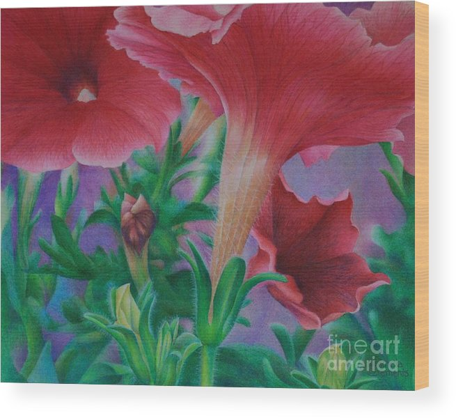 Flowers Wood Print featuring the painting Petunia Skies by Pamela Clements