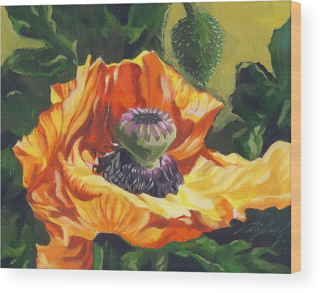 Garden Wood Print featuring the painting Poppy With Yellow by Alfred Ng