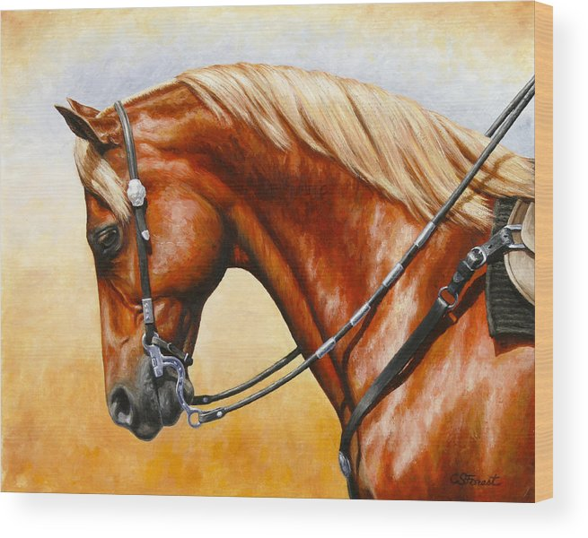 Horse Wood Print featuring the painting Precision - Horse Painting by Crista Forest