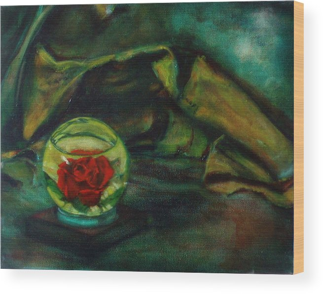 Still Life Wood Print featuring the painting Preserved Rose . . Draped Canvas by Sean Connolly