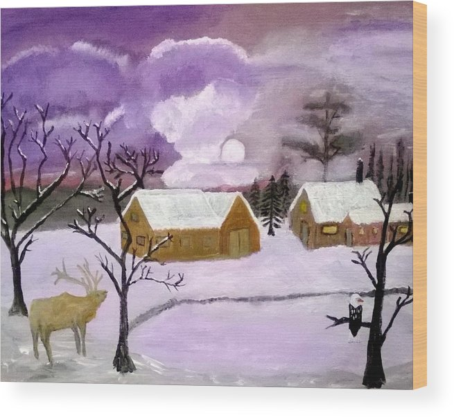 Snow Wood Print featuring the painting Purple Cold by Aat Kuijpers