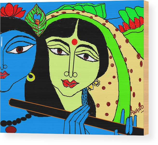 Radha Krishna Wood Print featuring the digital art Radha Krishna-3 by Anand Swaroop Manchiraju