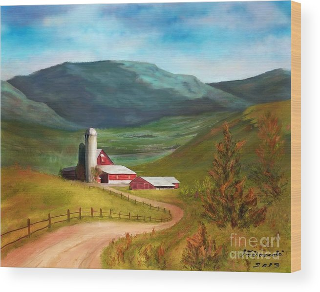 Red Barn Wood Print featuring the painting Red Barn Hillside Farm by Judy Filarecki