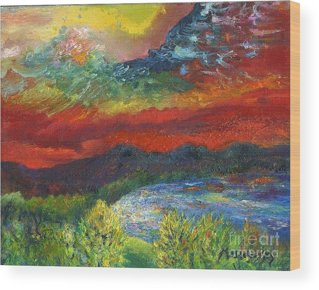 Red Sky Wood Print featuring the painting Red Sky In The Morning by Myra Maslowsky
