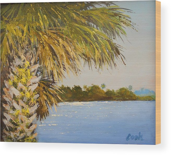 Palm Wood Print featuring the painting Refuge Palm by Michael Cook
