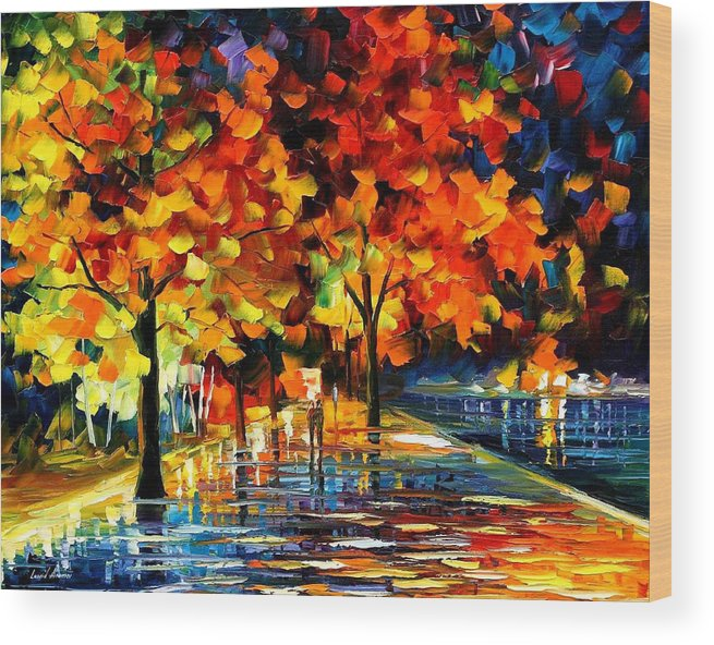 Oil Paintings Wood Print featuring the painting Rivershore Park - Palette Knife Oil Painting On Canvas By Leonid Afremov by Leonid Afremov