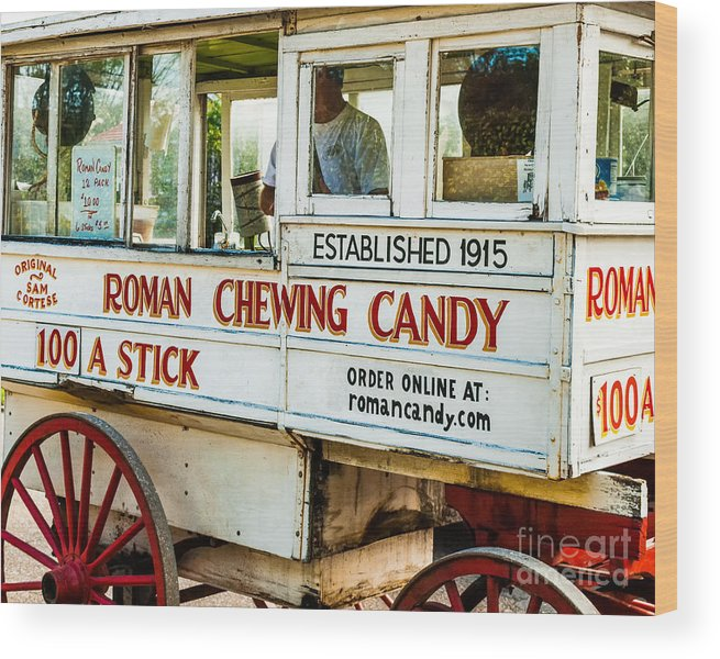 Roman Wood Print featuring the photograph Roman Chewing Candy Nola by Kathleen K Parker