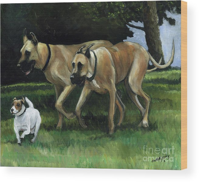 Dog Wood Print featuring the painting Running With The Big Boys by Charlotte Yealey