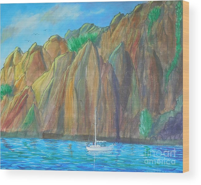Boat Wood Print featuring the painting Safe Harbor by Gene Huebner