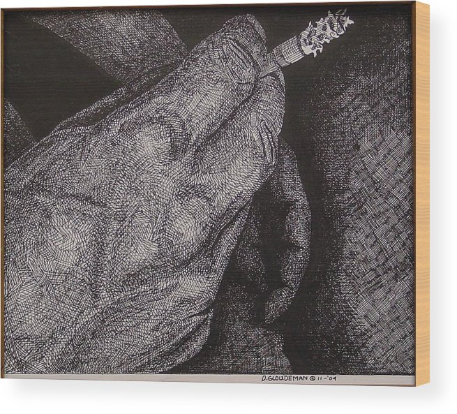 Figurative Wood Print featuring the drawing Smoke Number 2 by Denis Gloudeman