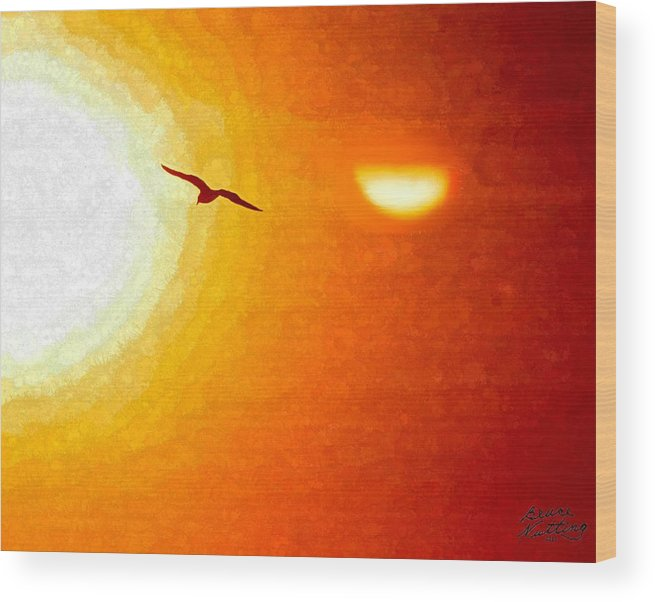 Sunset Wood Print featuring the painting Soaring In The Sunset by Bruce Nutting